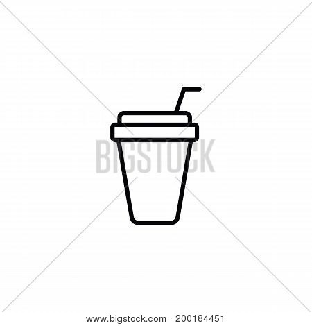 Paper Cup With Straw Mockup On White Background