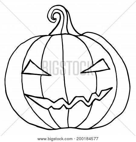 Black and white cartoon evil muzzle pumpkin. Halloween illustration.Vector hand drawn.Color page for adults and children. Book textile print poster design sticker card