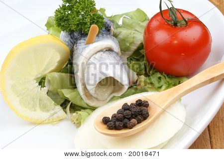 Pickled Herring With Tomato, Onion And Lemon