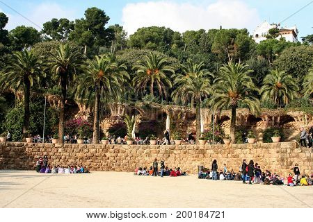 Park Guell of Antoni Gaudi Barcelona, Catalonia, Spain on november 18 2011
