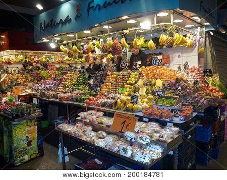famous La Boqueria market next to Les Rambles in Barcelona Catalonia Spain on november 18 2011. Barcelona