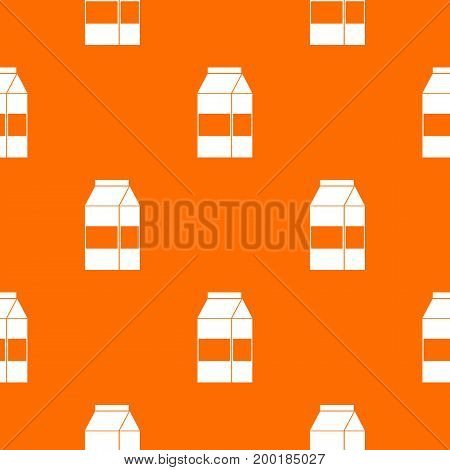Box of milk pattern repeat seamless in orange color for any design. Vector geometric illustration