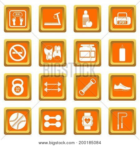 Gym icons set in orange color isolated vector illustration for web and any design