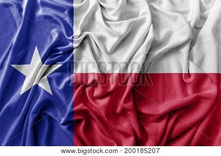 Ruffled waving United States Texas flag national