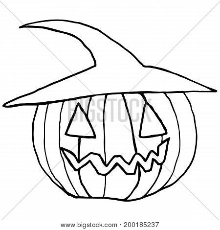 Black and white cartoon funny muzzle pumpkin in a hat isolated. Halloween illustration.Vector hand drawn.Color page for adults and children. Book textile print poster design sticker card