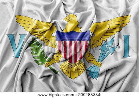 Ruffled waving United States United States Virgin Islands flag