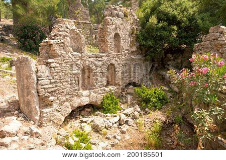 The ancient ruins of Seleucia. Ancient city on the Mediterranean coast of Pamphylia, in Anatolia, north of the city of Manavgat, in the province of Antalya, Turkey.