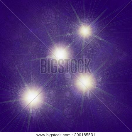 Blue abstract grid with luminous dots on a dark background. 3D illustration