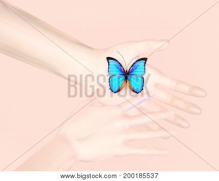 The concept of beauty. The blue butterfly is in the hands of man. 3D illustration