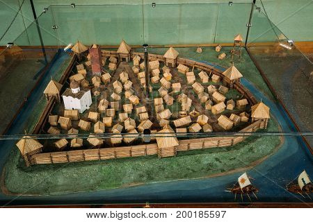 Brest, Belarus - June 6, 2017:  Exposition Of East Slavic Wooden Town Of 13th Century In Berestye Archeological Museum