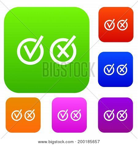 Signs of choice of tick and cross in circles set icon in different colors isolated vector illustration. Premium collection