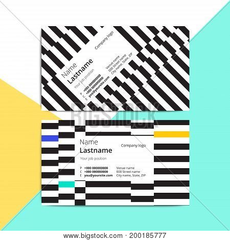 Trendy Abstract Business Card Templates. Modern Corporate Stationary Id Layout With Geometric Stripe