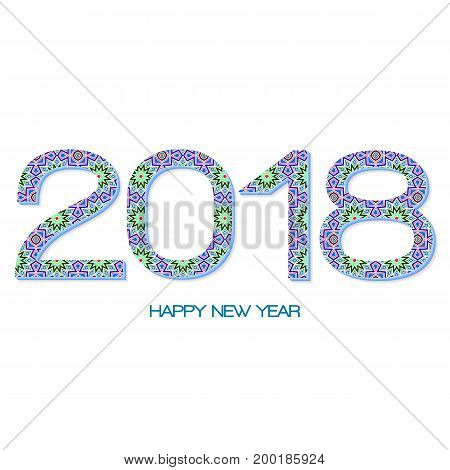 2018 Year Illustration Decorated With Abstract Decorative Geometric Pattern