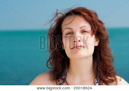 Serious Woman on a Beach