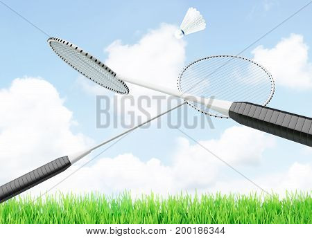 Badminton shuttlecock and rackets located on a background of sky. 3D illustration