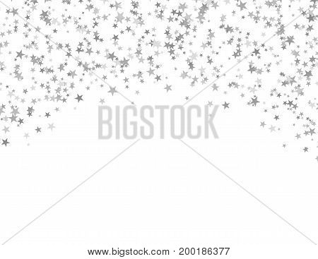 Silver stars falling from the sky. Abstract arc background. Glitter pattern for banner. Vector illustration on white background.