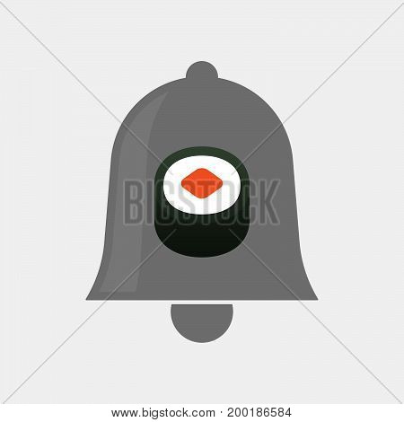 Isolated Bell With A Piece Of Sushi Maki