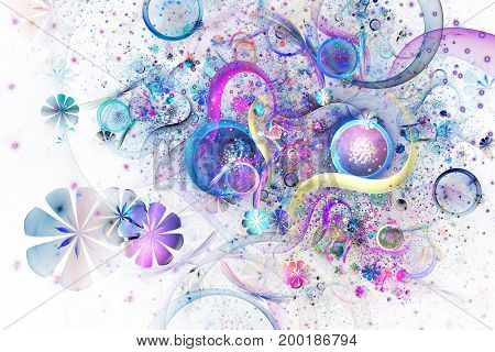 Beautiful Yellow, Purple And Blue Bouquet On White Background. Abstract Fantastic Fractal Flowers An