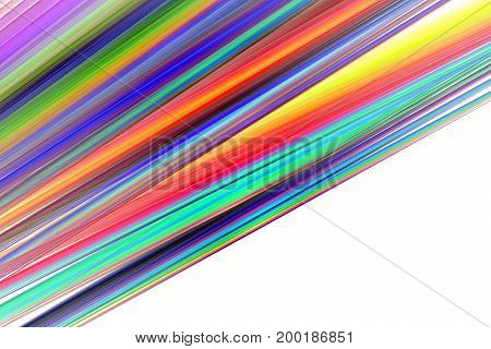 Abstract Colorful Rainbow Diagonal Stripes On White Background. Creative Fractal Texture. Digital Ar