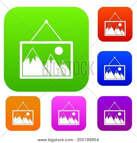 Painting with nature set icon in different colors isolated vector illustration. Premium collection