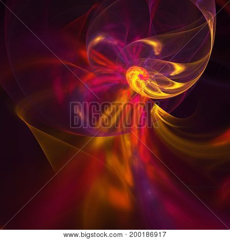 Abstract Blurred Fiery Swirl On Black Background. Fantasy Yellow, Red And Violet Fractal Texture. Di