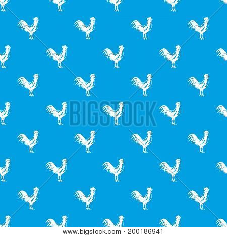 Gallic rooster pattern repeat seamless in blue color for any design. Vector geometric illustration