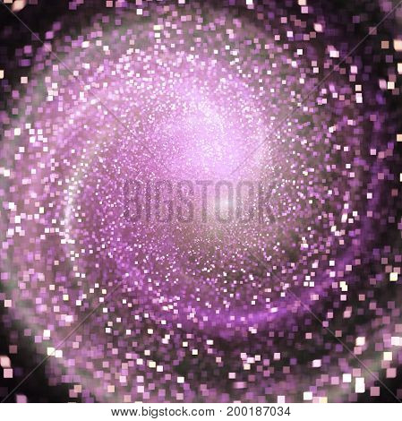 Glittering Swirl. Abstract Pink Square Sparks On Black Background. Fantasy Fractal Texture. Digital