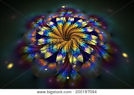 Abstract Exotic Flower On Black Background. Fantasy Fractal Design In Golden, Green And Blue Colors.