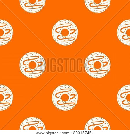 Chocolate donut pattern repeat seamless in orange color for any design. Vector geometric illustration