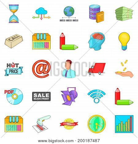Digital sales icons set. Cartoon set of 25 digital sales vector icons for web isolated on white background