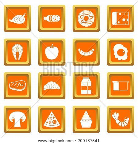 Food icons set in orange color isolated vector illustration for web and any design