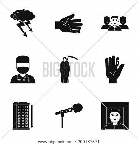 Anxiety and stress icon set. Simple style set of 9 anxiety and stress vector icons for web isolated on white background