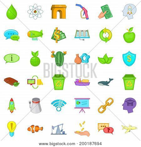 Eco battery icons set. Cartoon style of 36 eco battery vector icons for web isolated on white background