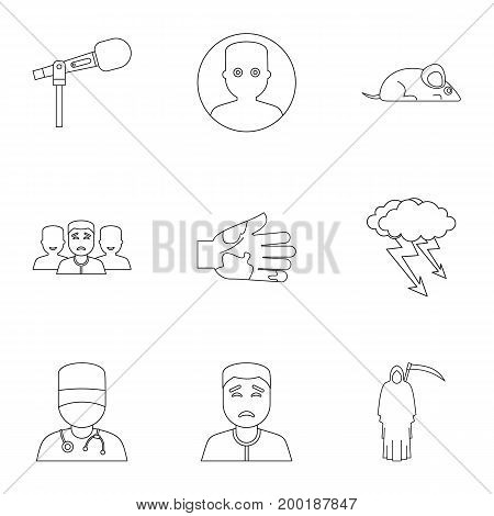 Fear icon set. Outline style set of 9 fear vector icons for web isolated on white background