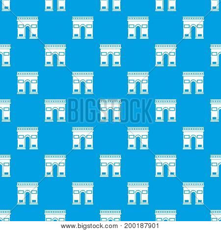 Triumphal arch pattern repeat seamless in blue color for any design. Vector geometric illustration