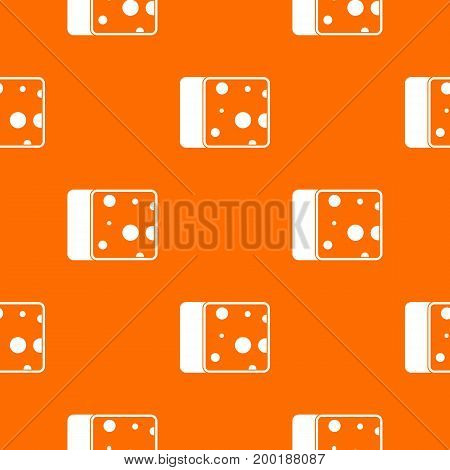 Cheese pattern repeat seamless in orange color for any design. Vector geometric illustration