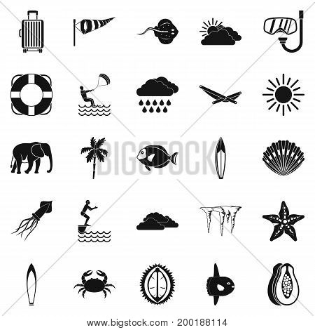 Dive icons set. Simple set of 25 dive vector icons for web isolated on white background