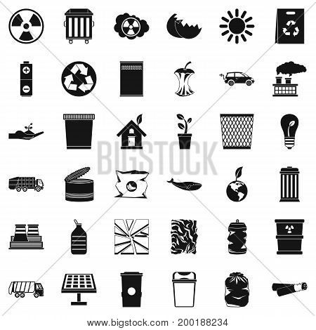 Recycling icons set. Simple style of 36 recycling vector icons for web isolated on white background