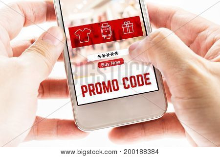 Close Up Two Hand Holding Mobile Phone With Promo Code Page And Icons, Internet Marketing Concept