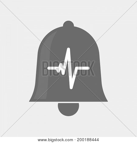 Isolated Bell With A Heart Beat Sign
