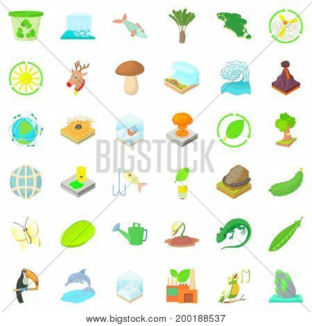 Recycling icons set. Cartoon style of 36 recycling vector icons for web isolated on white background