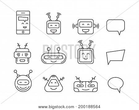 Set Chat bot vector icon faces robots in a linear style. Vector Robot Virtual Assistance chatbots and bubbles for text messages.