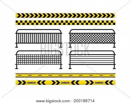 Yellow with black line and danger tapes, danger sign, metal fence. Vector illustration isolated on white background.
