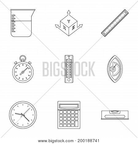 Measuring icon set. Outline style set of 9 measuring vector icons for web isolated on white background