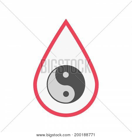 Isolated Blood Drop With A Ying Yang