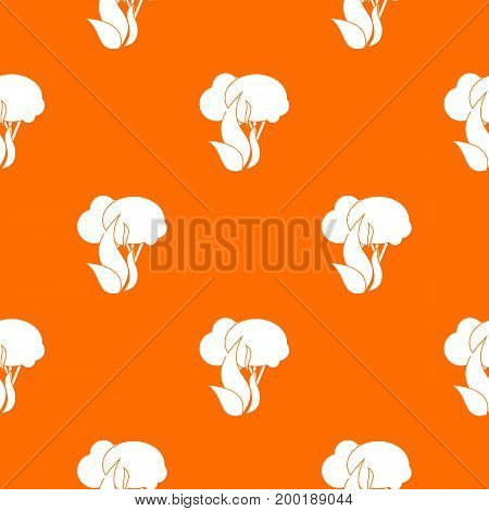 Burning forest trees pattern repeat seamless in orange color for any design. Vector geometric illustration