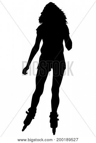 People athletes of skates on white background