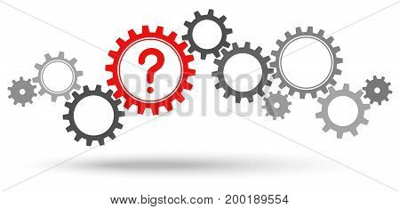 Gray Gears With Red Question Mark