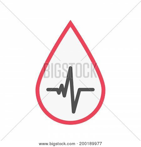 Isolated Blood Drop With A Heart Beat Sign
