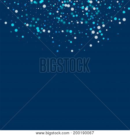 Beautiful Falling Snow. Top Semicircle With Beautiful Falling Snow On Deep Blue Background. Vector I